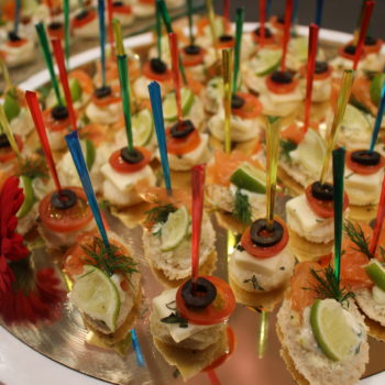 selection of salmon canapes